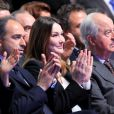 Jean-François Coppé, Carla Bruni Sarkozy et Edouard Balladur le 11 mars 2012 à Villepinte lors du meeting de Nicolas Sarkozy