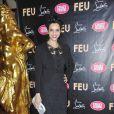 Farida Khelfa à la première VIP de la revue  Feu  du Crazy Horse, à Paris, le 12 mars 2012.