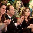 Aurélie Filippetti, François Hollande et Valérie Trierweiler au Cirque d'Hiver le 18 mars 2012 à Paris