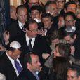 François Hollande et Valérie Trierweiler le 19 mars 2012 à la synagogue Nazareth de Paris lors d'un hommage rendu aux victimes de la tuerie de Toulouse