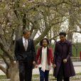 Michelle Obama en famille se rend à l'église. Washington le 18 mars 2012