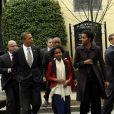 La famille Obama à la sortie d'une église à Washington le 18 mars 2012