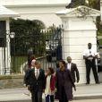 Barack et Michelle Obama en famille se rendent à l'église. Washington le 18 mars 2012