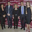 Fulvia Visconti, Ferrucio Ferragamo, Giovana Getile, Leonardo Ferragamo et Carole Bouquet au vernissage de l'exposition La Sainte Anne, l'ultime chef-d'oeuvre de Léonard de Vinci, au Louvre, le 27 mars 2012.