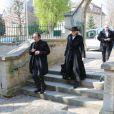 Roland Giraud et sa femme Maiike Jansen lors des obsèques de Philippe Bruneau le 3 avril 2012 en l'église Saint-Ouen de Caen
