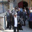 Arthur Jugnot lors des obsèques de Philippe Bruneau le 3 avril 2012 en l'église Saint-Ouen de Caen