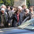 Claire Nadeau et Luis Rego lors des obsèques de Philippe Bruneau le 3 avril 2012 en l'église Saint-Ouen de Caen